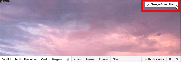 Change the cover photo for Facebook Group (before)