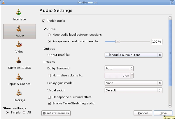 VLC Audio Output Options